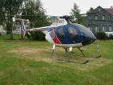MD 500E (Hughes 369E) OK-LES firmy Letecká lesní a.s. so 4 listovou chvostovou vrtuľkou. Abertamy dňa 3.8.2001.