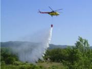 Nácvik hasenia lesného požiaru vrtuľníkom UTair Mi-171